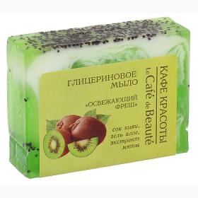 Sapun cu glicerina, suc de kiwi, gel de aloe si extract de menta