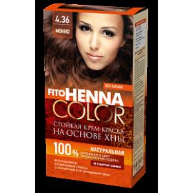 Vopsea de par permanenta fara amoniac FITO Henna Color 4.36 MOCCA