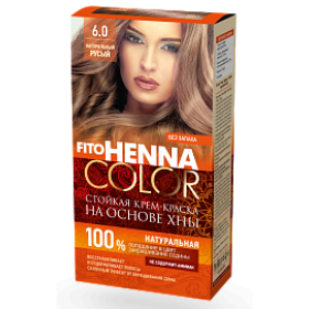 Vopsea de par permanenta fara amoniac FITO Henna Color 6.0 BLOND NATURAL
